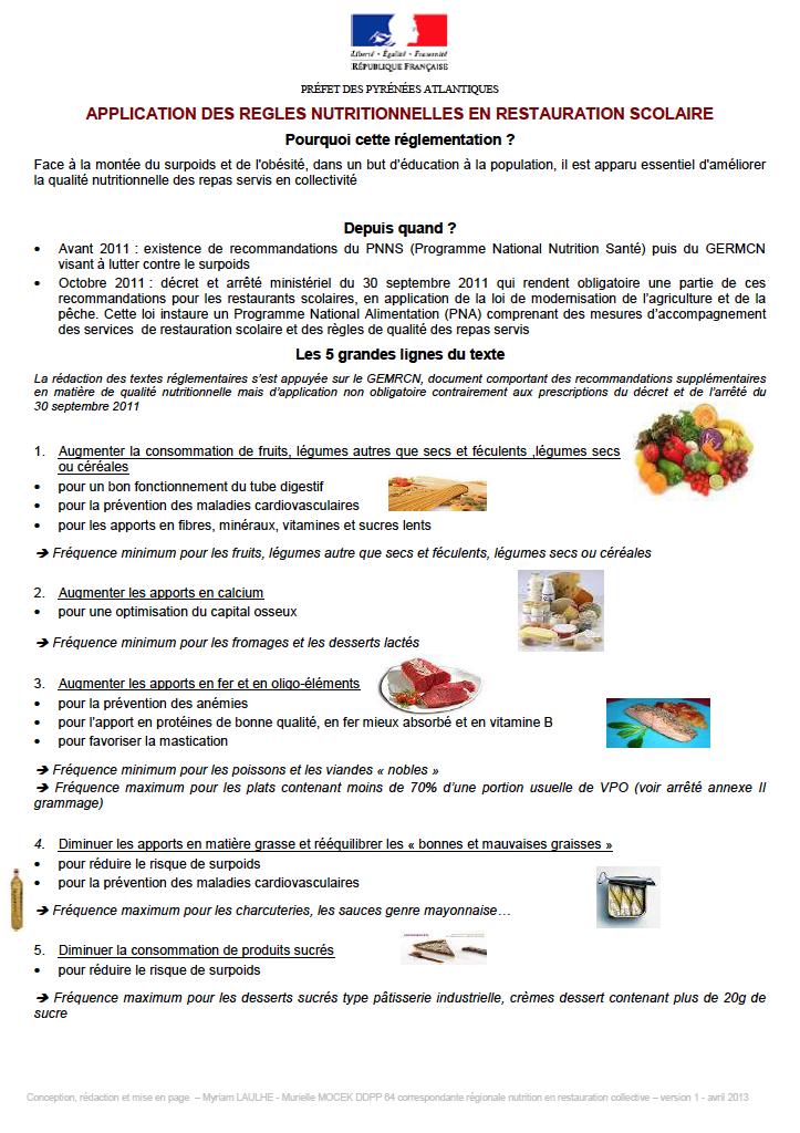 Application des r gles nutritionnelles en restauration for Societe de restauration collective scolaire